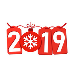 happe new year background isolated 2019 red vector image