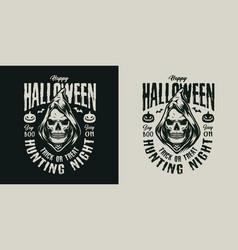 happy halloween vintage label vector image