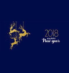 happy new year 2018 gold glitter deer decoration vector image vector image