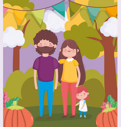 Happy thanksgiving family dad mom and daughter vector