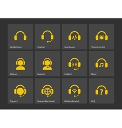 Headphones and support icons vector image