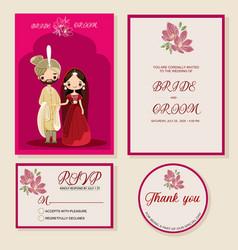 Indian wedding invite rsvp thankyou label vector