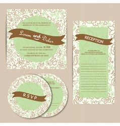 invitation set green vector image