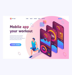 isometric concept mobile app tracks a persons vector image