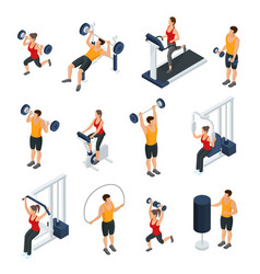 Isometric people in gym collection vector