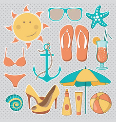 items related to beach activities vector image