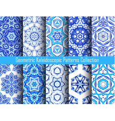 Kaleidoscopic patterns blue backgrounds vector