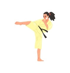 Karate Professional Fighter In Kimono With Black vector image