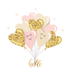Kawaii heart balloons brunch girly gold glitter vector