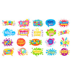 Kids zone badges kid play room label colorful vector