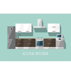 Kitchen furniture modern trendy design vector image