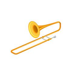 Large golden trumpet trombone brass musical vector