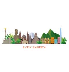 Latin america skyline landmarks flat style vector