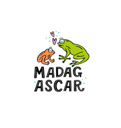 madagscar hand written word with two funny frogs vector image