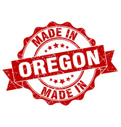 Made in oregon round seal vector