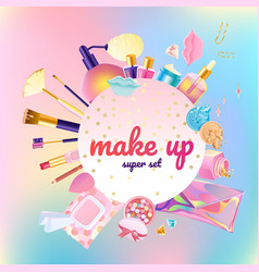 Makeup cosmetic super set vector
