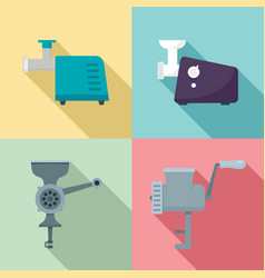 Meat grinder icon set flat style vector