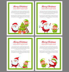 Merry christmas and happy new year set of cards vector