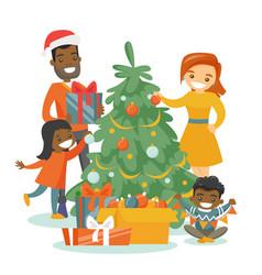 Multiethnic family decorating christmas tree vector