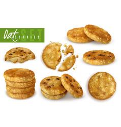 Oat cookies realistic set vector