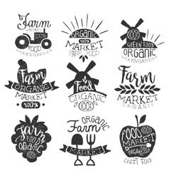 Organic Market Vintage Stamp Collection vector