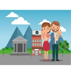 Parents with baby icon family design city vector