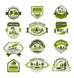 Park green city garden eco landscaping badge set vector