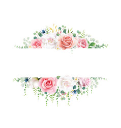 pink and white rose with greenery banner vector image