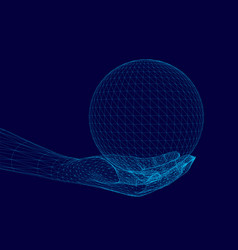 Polygonal human hand holds a sphere 3d wireframe vector