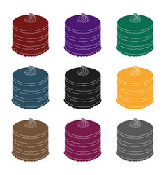 purple cake icon in black style isolated on white vector image