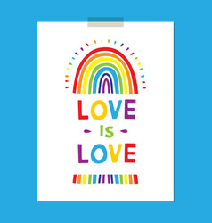 rainbow poster cute childishly drawn rainbows vector image