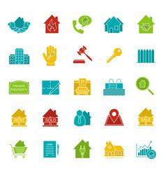 real estate market glyph color icon set vector image