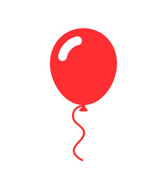red balloon simple flat icon vector image