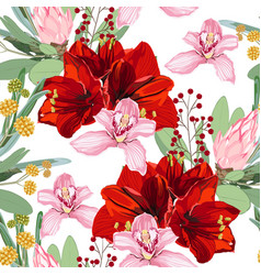 red lilies protea and orchid flowers vector image