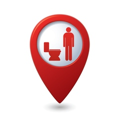 Red map pointer with restroom icon man vector