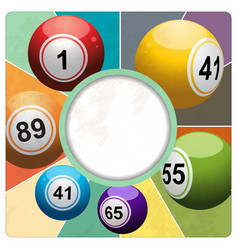 Retro bingo lottery balls border on multicolour vector