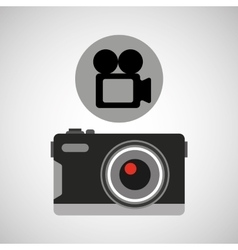 Retro camera photographic record video vector
