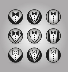 round icons jacket set vector image