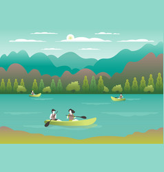 rowing sailing in boats as a sport or form of vector image