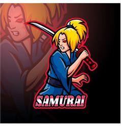 Samurai girl esport logo mascot design vector