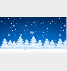 Scene with snowing on pine trees vector