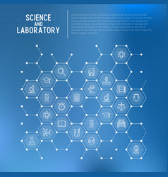 Science and laboratory concept in honeycombs vector