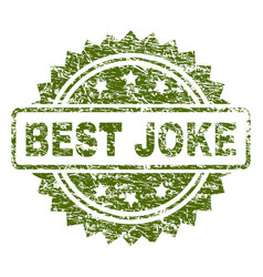 Scratched textured best joke stamp seal vector