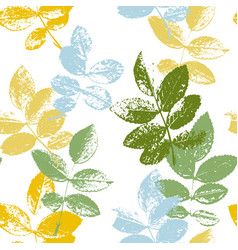 seamless pattern with leaves silhouettes vector image