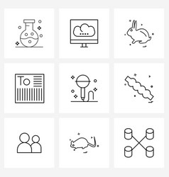 Set 9 simple line icons microphone shipment vector