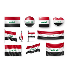 Set iraq flags banners banners symbols flat vector