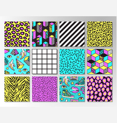 set of seamless patterns in 80s-90s memphis style vector image