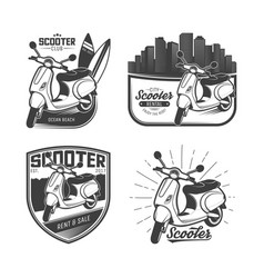 set scooter emblems vector image