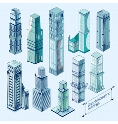 Sketch Isometric Buildings Colored vector