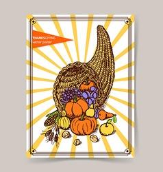 Sketch Thanksgiving cornucopia vector